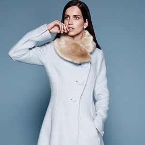 RARE Anthropologie Fur Collar Beatrix Coat Sz 10